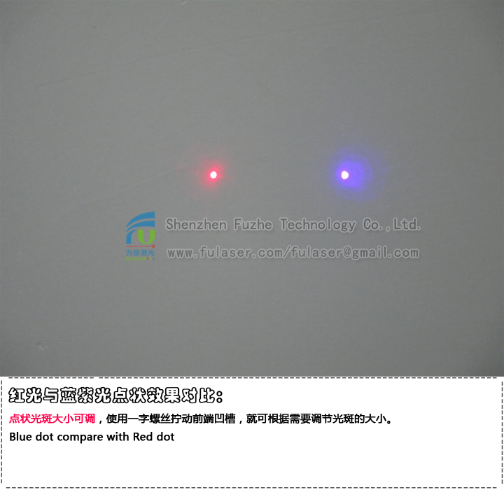 FU405ADX-BXS22 405-415nm 0.1~200mW portable Blue Violet Dot Projecting Alignment Laser with button ON/OFF, 14500 rechargeable battery